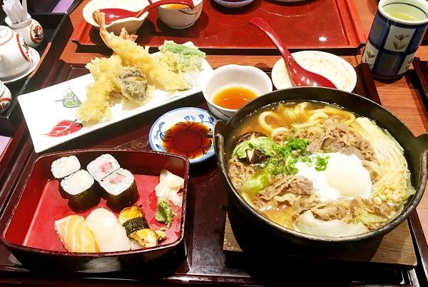 牛肉烏冬鍋天婦羅壽司併盤 ($150)